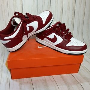 Nike dunk low white maroon size 10